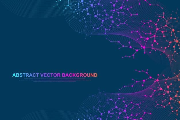 医学、科学、技術、化学の科学分子の背景。 dna分子の壁紙またはバナー。ベクトル幾何学的な動的イラスト。