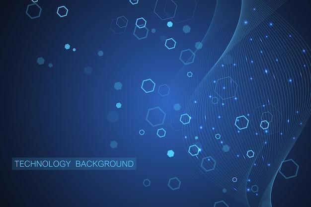 의학, 과학, 기술, 화학에 대한 과학적 분자 배경. Dna 분자가 있는 벽지 또는 배너. 벡터 기하학적 동적 그림입니다. 프리미엄 벡터