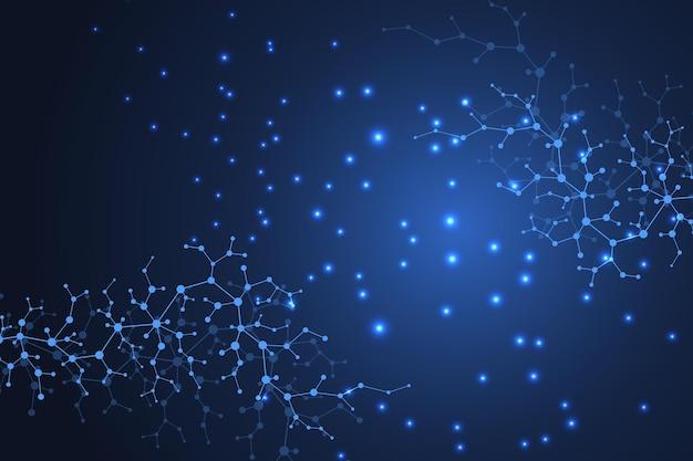 Научный фон молекулы для медицины, науки, техники, химии. обои или баннер с молекулами днк. векторная геометрическая динамическая иллюстрация.