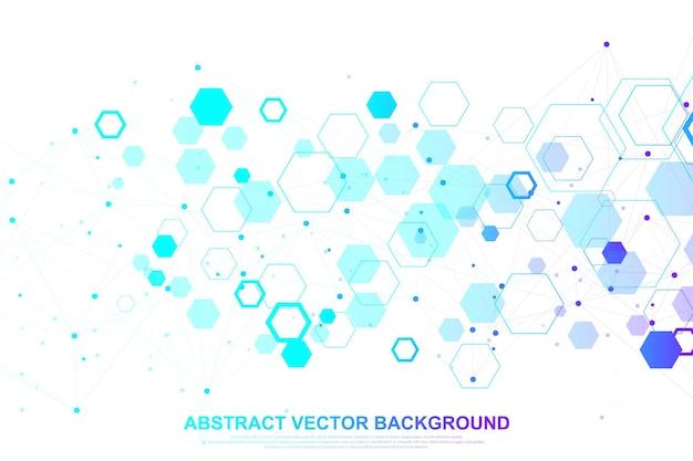 의학, 과학, 기술, 화학에 대한 과학적 분자 배경. dna 분자가 있는 벽지 또는 배너. 벡터 기하학적 동적 그림입니다.