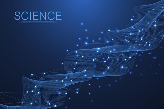 医学、科学、技術、化学の科学的な分子の背景。