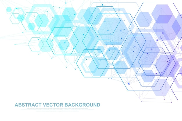 Scientific molecule background for medicine, science, technology, chemistry. wallpaper or banner with a dna molecules, dna digital, sequence, code structure. vector geometric dynamic illustration