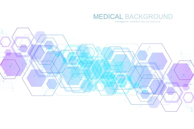 Scientific molecule background for medicine, science, technology, chemistry. wallpaper or banner with a dna molecules, dna digital, sequence, code structure. vector geometric dynamic illustration.