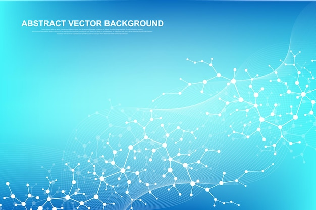 Scientific molecule background for medicine, science, technology, chemistry. wallpaper or banner with a dna molecules. vector geometric dynamic illustration Premium Vector