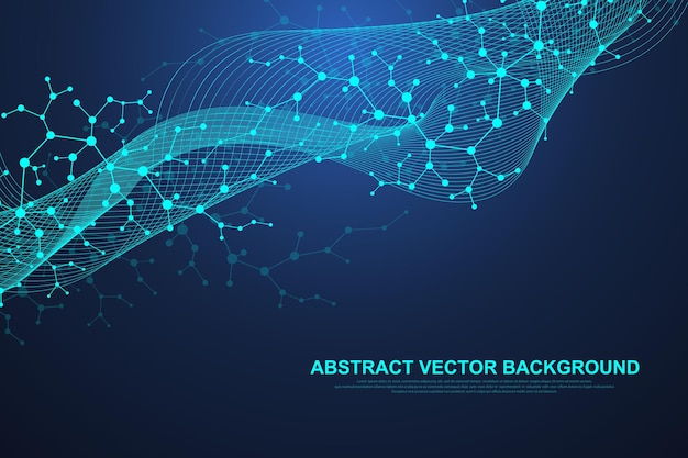 Scientific molecule background for medicine, science, technology, chemistry. waves flow. wallpaper or banner with a dna molecules. vector geometric dynamic illustration.