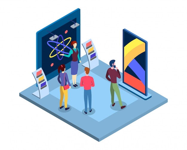 Scientific museum isometric illustration. science fair presentation, tradeshow promoter and visitors flat characters. commercial exposition, tradeshow exhibition place 3d interior