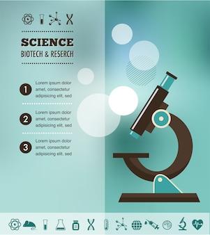 Плакат о научных исследованиях, биотехнологиях или химической лаборатории