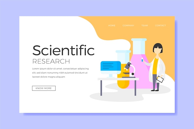 Scientific research and character landing page