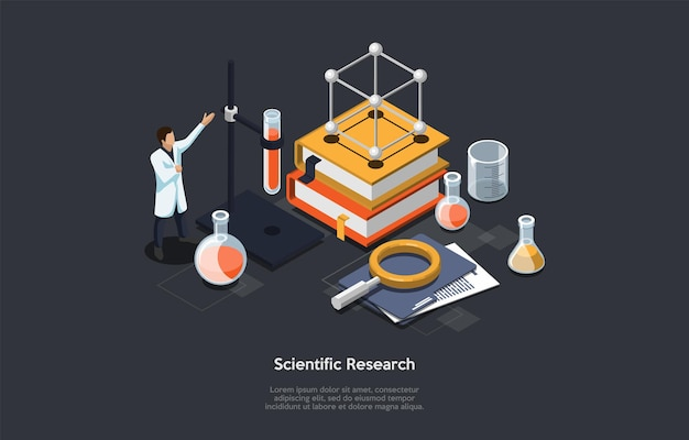 Scientific research conceptual illustration with science related objects and male character in white robe.