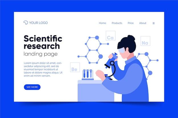 Scientific research landing page design