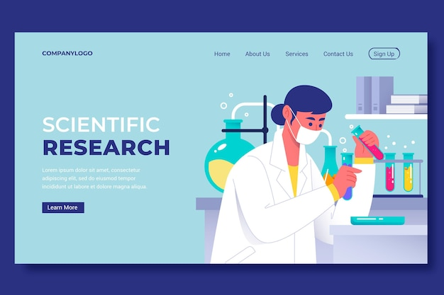 Scientific research landing page template