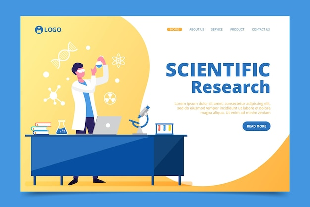 Scientific research landing page theme