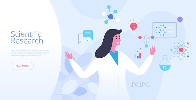 Scientific research landing page vector template. clinical study website homepage interface idea with flat illustrations. laboratory experiment, futuristic biotechnology web banner cartoon concept