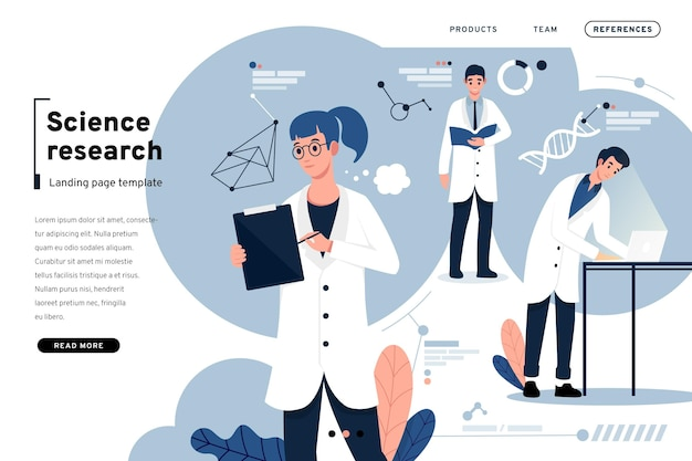 Scientific research and people landing page
