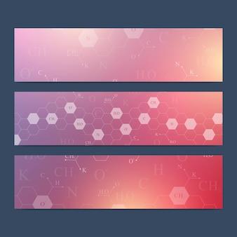 Scientific set of banners. hexagonal chemistry.