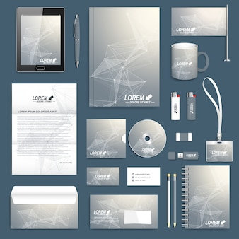 Scientific set of  corporate identity template. modern stationery. business, science, medicine and technology branding design.