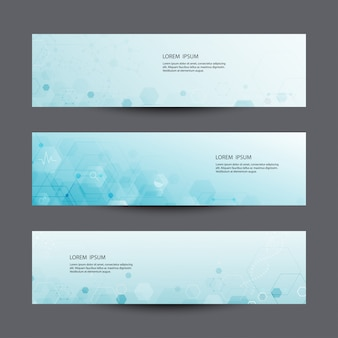 Scientific set of modern technology vector banners.