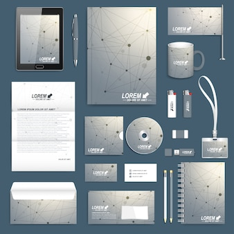 Научный набор шаблона фирменного стиля. макет современных канцелярских товаров. молекула геометрического графического фона и коммуникации. дизайн брендов бизнеса, науки, медицины и технологий.