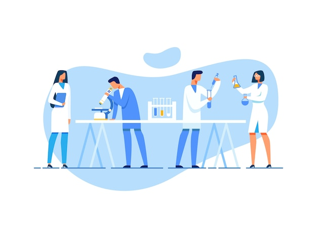 연구 실험실에서 일하는 과학 팀
