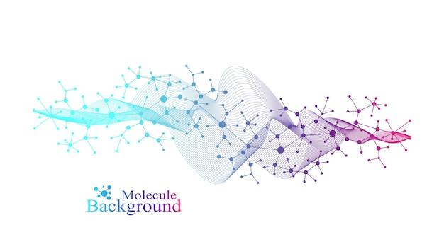 과학적 벡터 일러스트 레이 션 유전 공학 및 유전자 조작 개념입니다. dna 나선, dna 가닥, 분자 또는 원자, 뉴런. 과학 또는 의료 배경에 대한 추상 구조입니다. 크리스퍼 cas9.