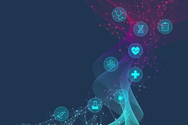 Научная векторная иллюстрация генной инженерии и концепции генной манипуляции. спираль днк, цепь днк, молекула или атом, нейроны. абстрактная структура для науки или медицинского образования. волновой поток
