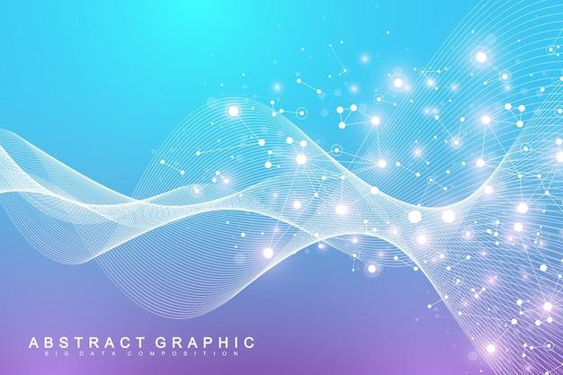 과학적 벡터 일러스트 레이 션 유전 공학 및 유전자 조작 개념입니다. dna 나선, dna 가닥, 분자 또는 원자, 뉴런. 과학 또는 의료 배경에 대한 추상 구조입니다. 파도의 흐름.