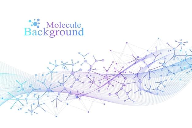 Научная векторная иллюстрация генной инженерии и концепции генных манипуляций. спираль днк, цепь днк, молекула или атом, нейроны. абстрактная структура для науки или медицинского образования
