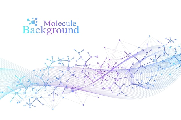 Scientific vector illustration genetic engineering and gene manipulation concept. dna helix, dna strand, molecule or atom, neurons. abstract structure for science or medical background