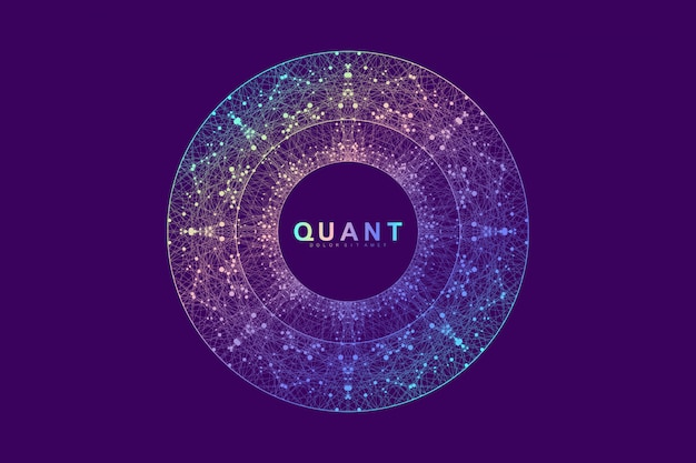 Scientific vector illustration quantum computer technology.