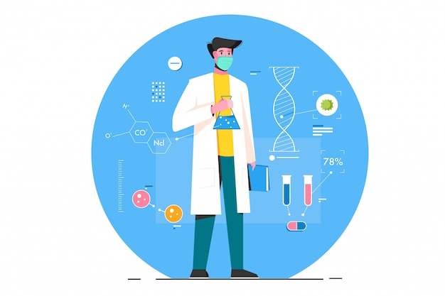 Scientis virologi flat illustration