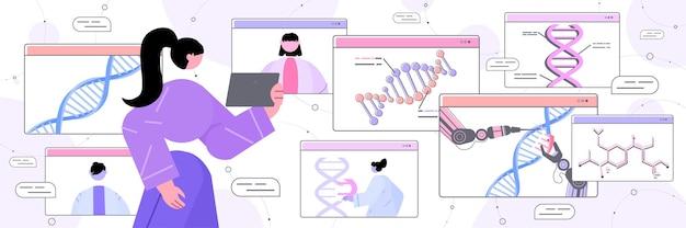 Ученый, анализирующий структуру днк в окне веб-браузера, исследователь, проводящий эксперимент в онлайн-лаборатории, тестирование днк, концепция генной инженерии Premium векторы