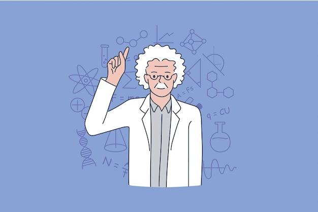 科学者および物理学者の開業医の概念。立っている古い灰色の髪の男の科学者は、背景のベクトル図のシンボルの上に指を表示します。