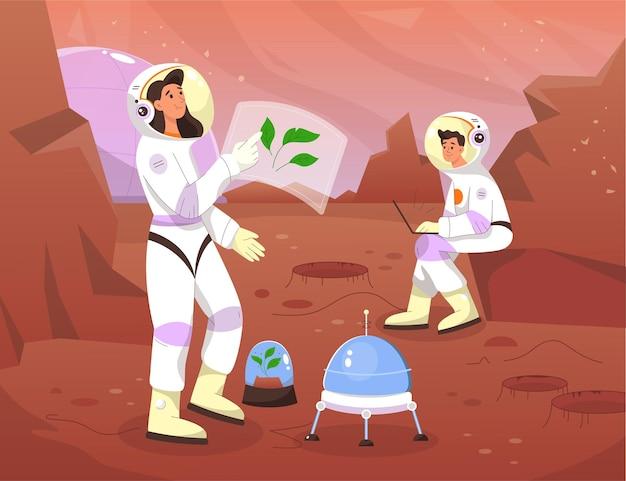화성의 과학자 우주 비행사. 우주 비행사는 붉은 행성에서 식물을 재배합니다.