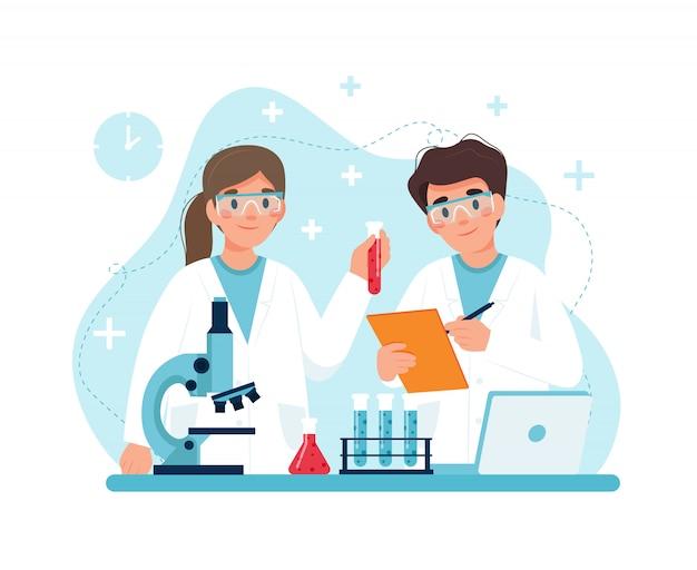직장에서 과학자, 실험실에서 실험을 수행하는 캐릭터.