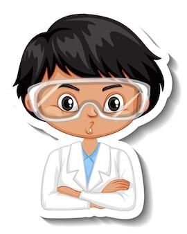 科学者の少年の漫画のキャラクターのステッカー