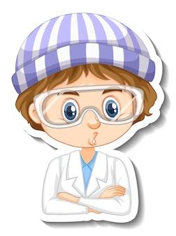 Ученый мальчик мультяшный персонаж наклейка