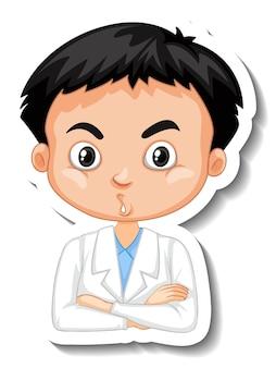 Adesivo personaggio dei cartoni animati ragazzo scienziato