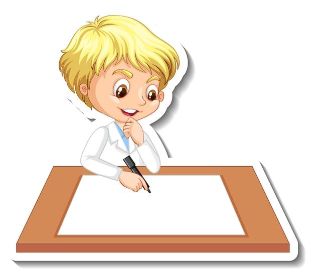 空白のテーブルを持つ科学者の少年の漫画のキャラクター