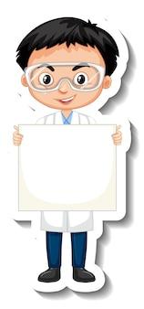 Ragazzo dello scienziato che tiene l'autoadesivo del personaggio dei cartoni animati del bordo bianco