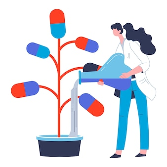 Scientist caring for manufacturing of pills against diseases and illnesses. woman with water or substance for capsules, laboratory experiment and pharmacology production vector in flat style