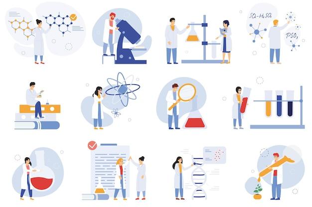 科学者のキャラクター。化学研究者、生物学者または実験室労働者、科学医療従事者のベクトルイラストセット。科学者のキャラクターを研究する