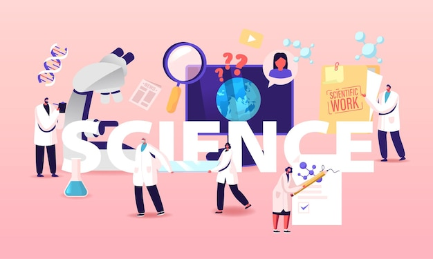 Scientist characters work in lab with medical equipment and microscope conduct experiment.