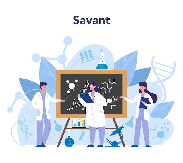 科学者の概念。教育と革新のアイデア。生物学、化学、医学および他の主題の体系的な研究。 Premiumベクター