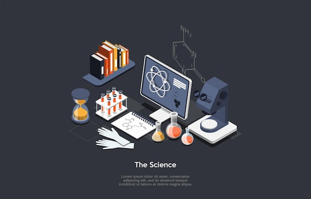 Scientist concept illustration in cartoon 3d style