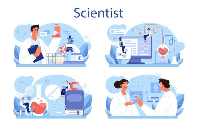 Набор концепции ученый. идея образования и инноваций. систематическое изучение биологии, химии, медицины и других предметов. изолированная плоская иллюстрация