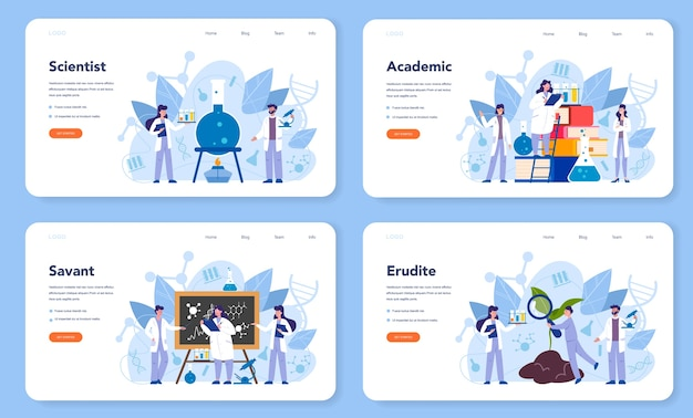 Scientist concept web banner or landing page set