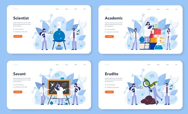 Набор веб-баннера или целевой страницы концепции ученого