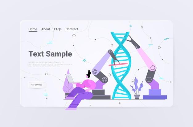 実験室で実験を行うdna研究者と協力してロボットの手を制御する科学者dna検査遺伝子診断の概念