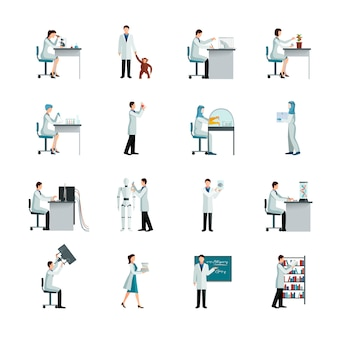 Scientist decorative icons set
