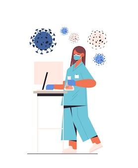 Covid-19 개념 세로 그림에 대한 테스트 튜브 백신 개발 싸움을 들고 실험실 여성 연구원에서 새로운 코로나 바이러스 백신을 개발하는 과학자